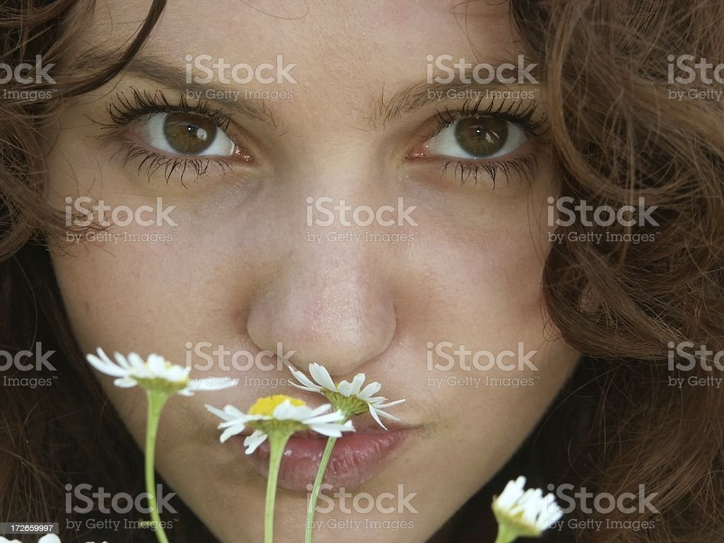 young girl portrait with camomiles royalty-free stock photo