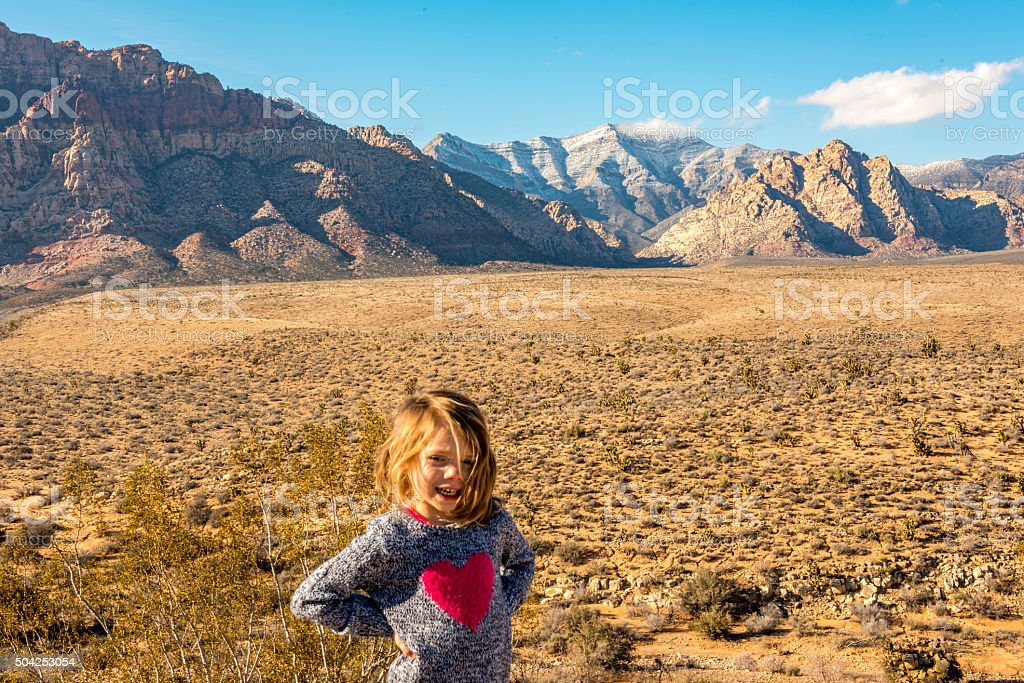 Young girl posing at Red Rock outside of Las Vegas stock photo