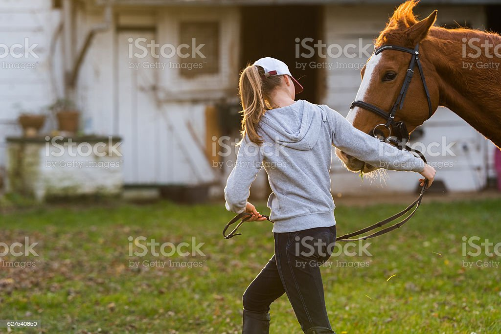 Young girl preparing horse for ride stock photo