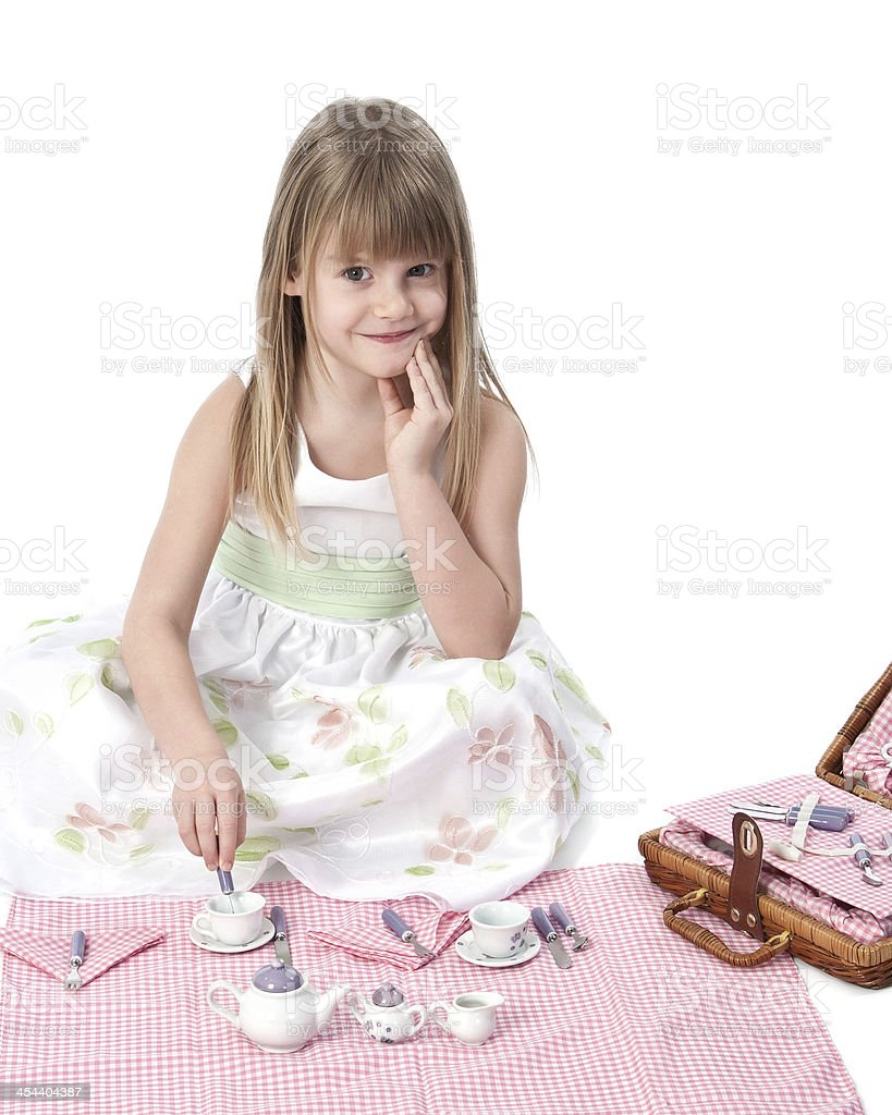 Young girl pretend picnic royalty-free stock photo