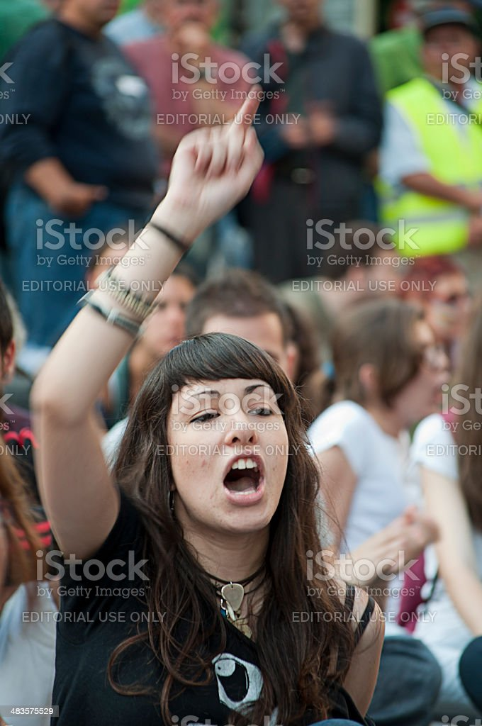 Young girl protester royalty-free stock photo