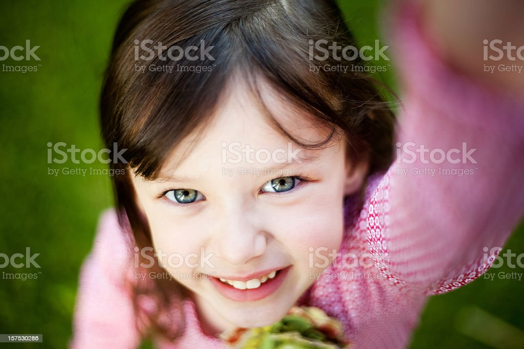 Young Girl Reaching Up royalty-free stock photo