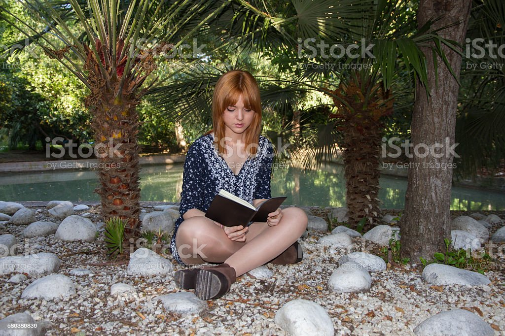 Young girl reading a black book in a park. stock photo
