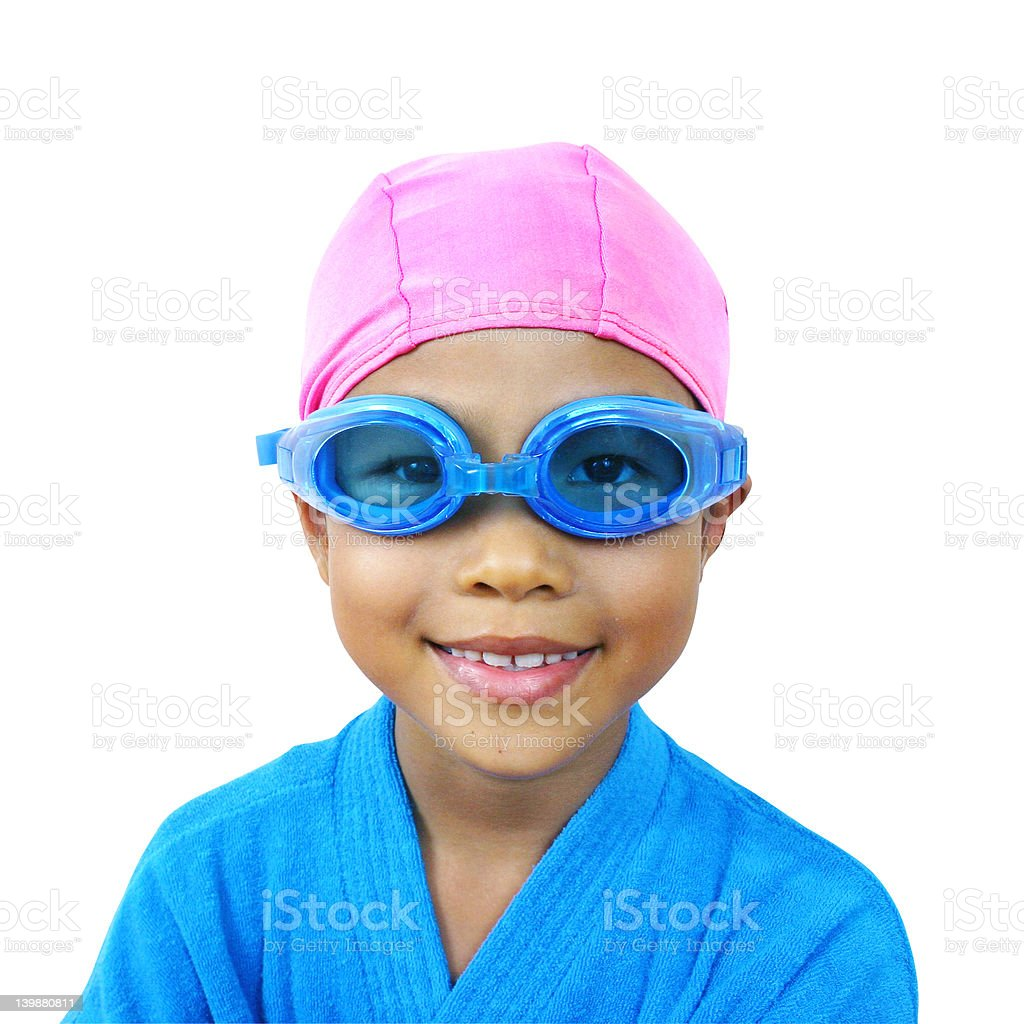 Young girl ready for a swim stock photo