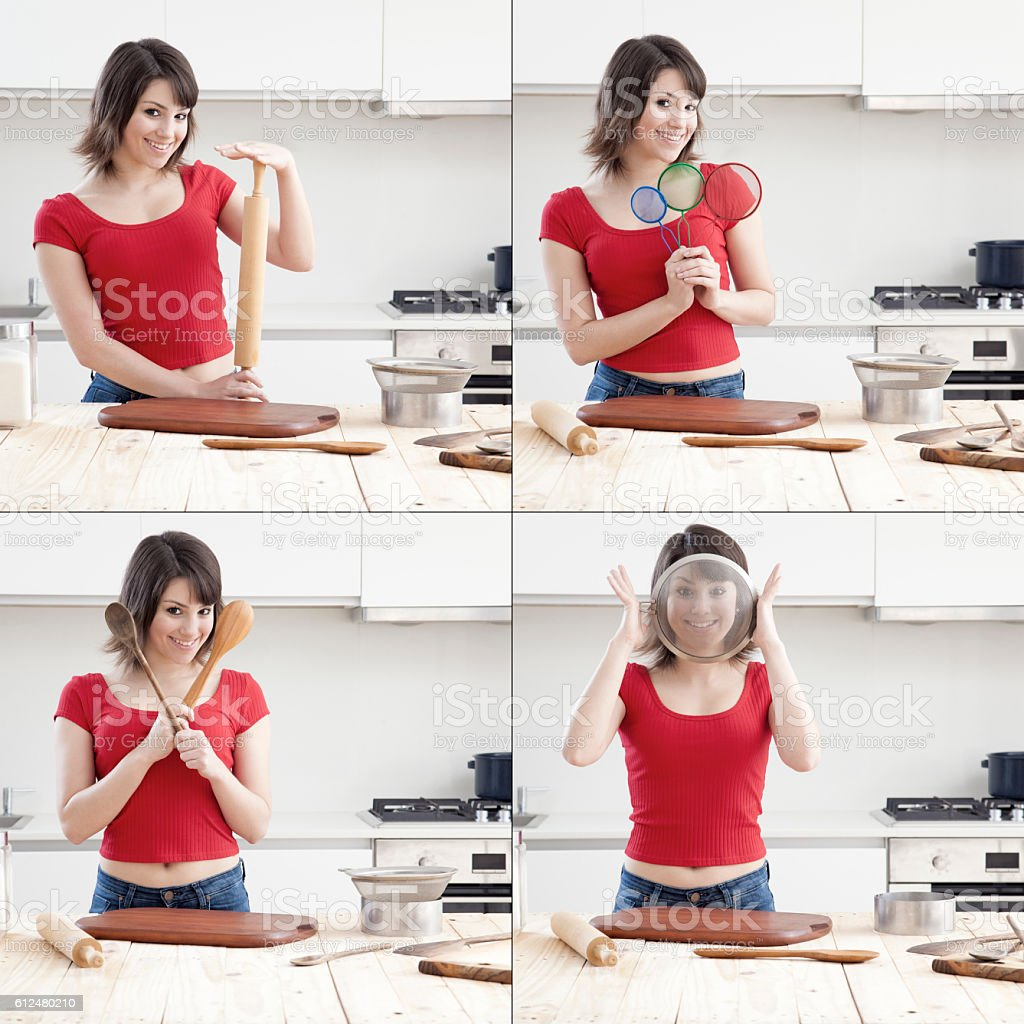 Young girl ready for baking stock photo