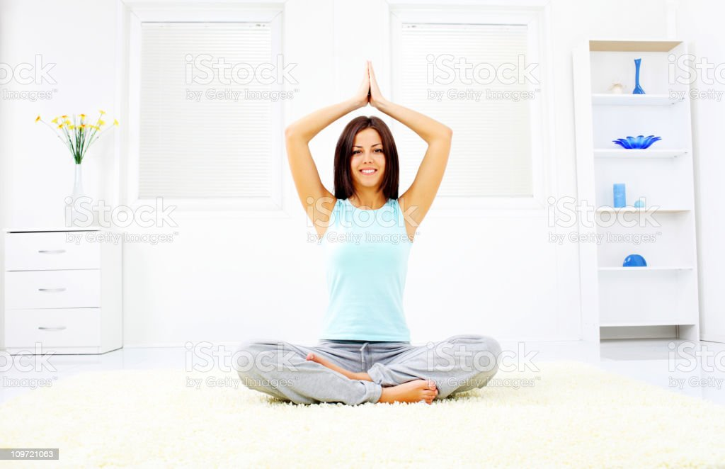 Young girl relax with yoga royalty-free stock photo