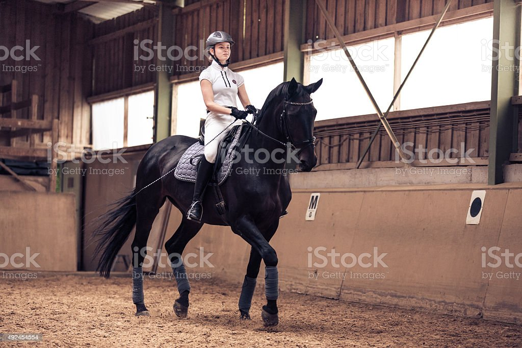 Young Girl Riding Her Horse stock photo