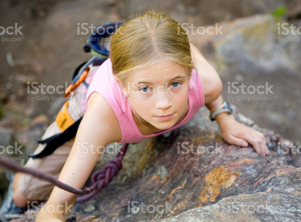 Young Girl Rock Climbing royalty-free stock photo