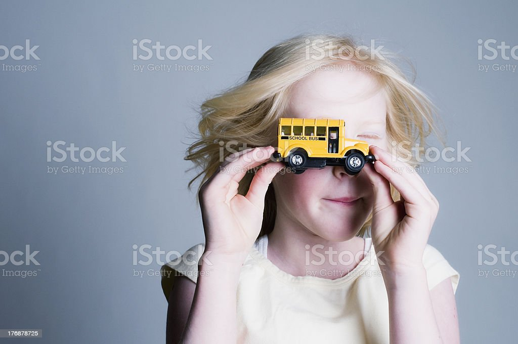 Young Girl, School Bus Educational Concept stock photo