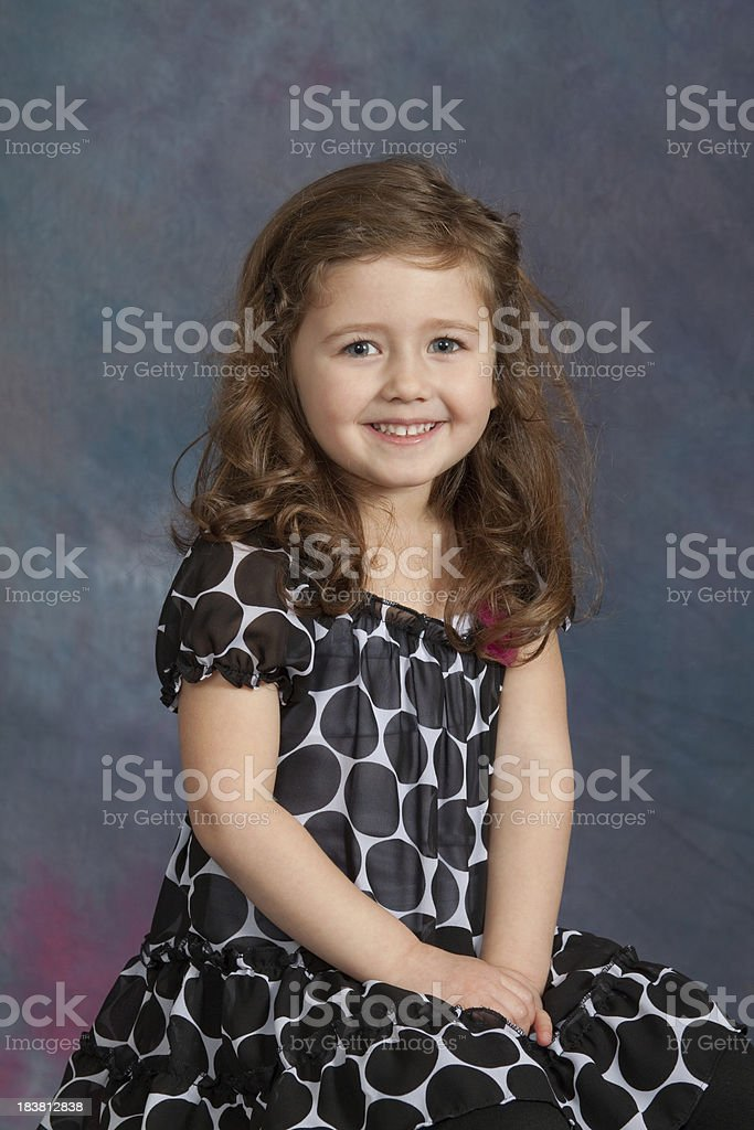 Young Girl School / Yearbook Portrait Age 4 almost 5 stock photo
