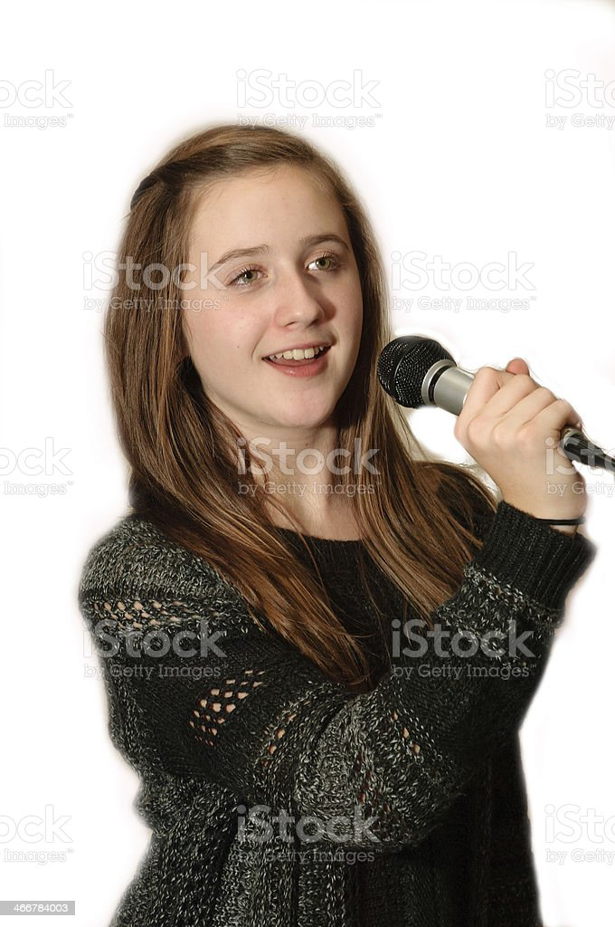 Young Girl Sings stock photo