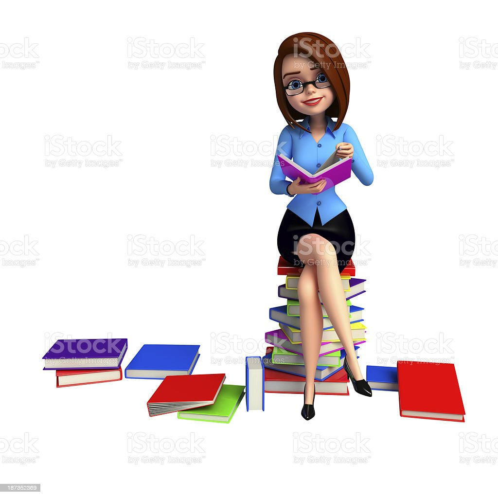 Young girl sitting on the pile of books royalty-free stock photo