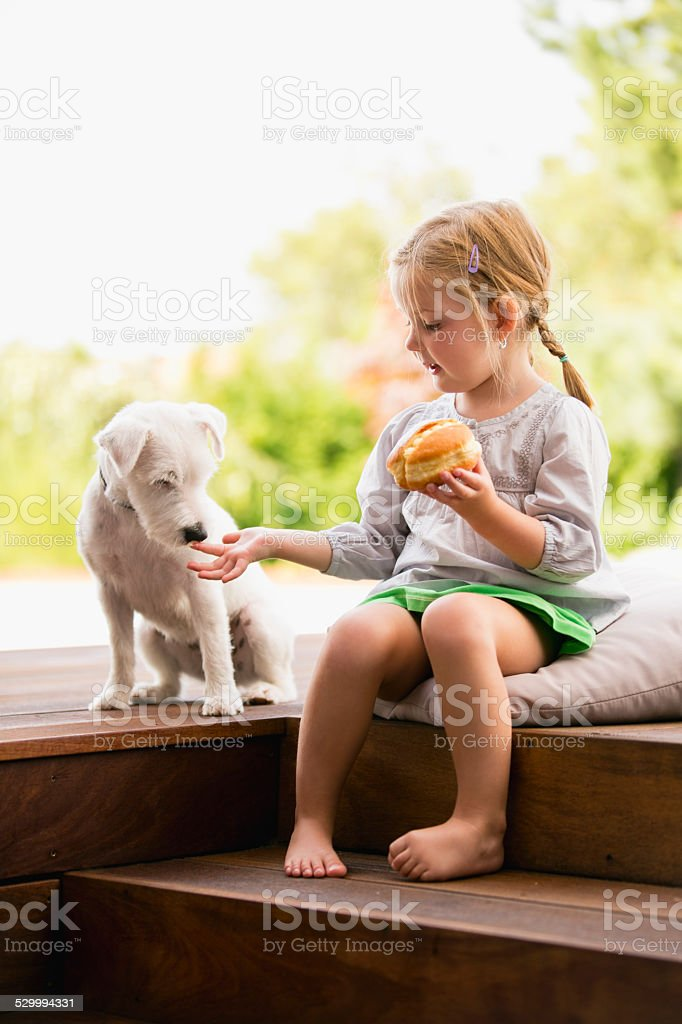 Young girl sitting on wooden steps with dog eating doughnut stock photo