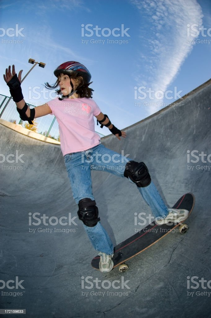 Young Girl - Skateboard Practice royalty-free stock photo