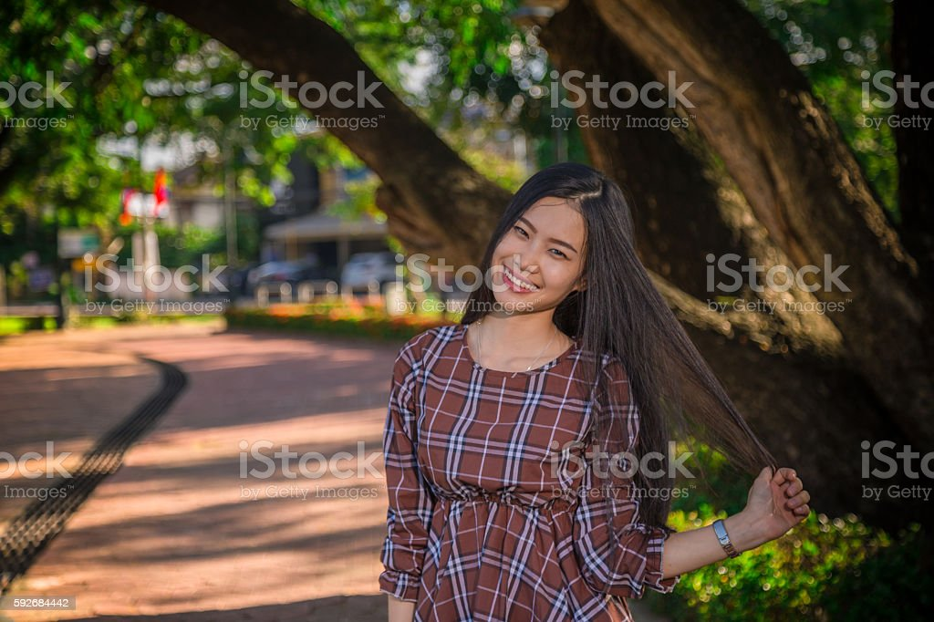 young girl smile stock photo