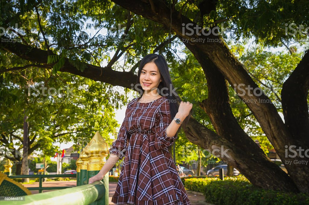 young girl smiling happiness park stock photo