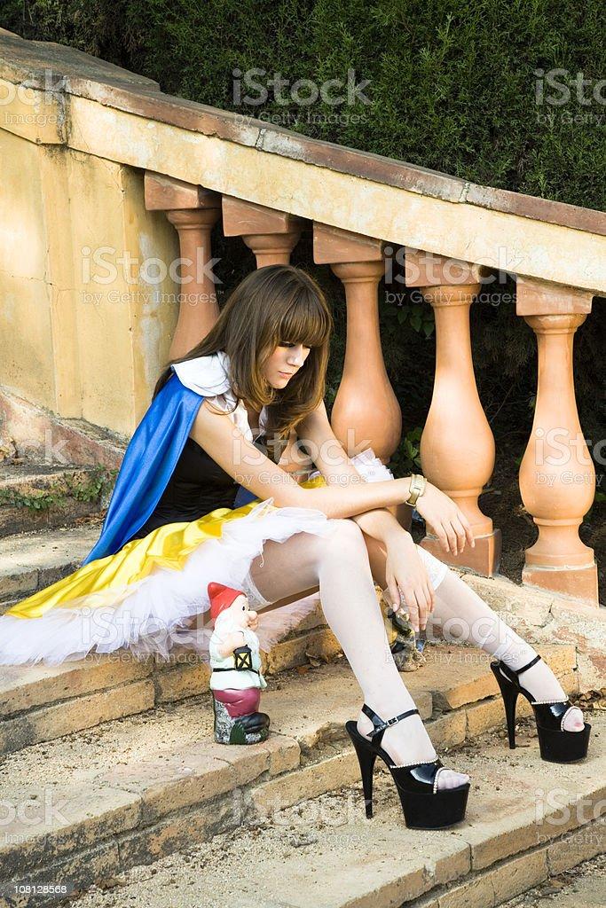 young girl snow white stock photo