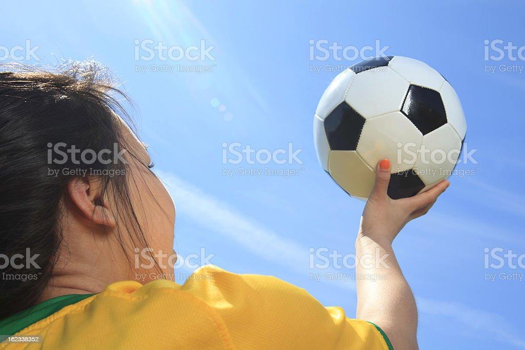 Young Girl Soccer - Look at Ball royalty-free stock photo