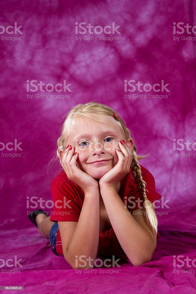 Young girl striking a pose stock photo
