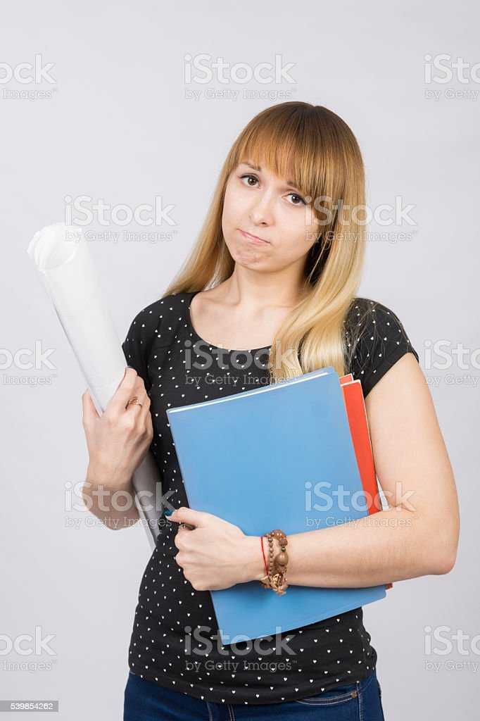 Young girl student with a project in hand stock photo