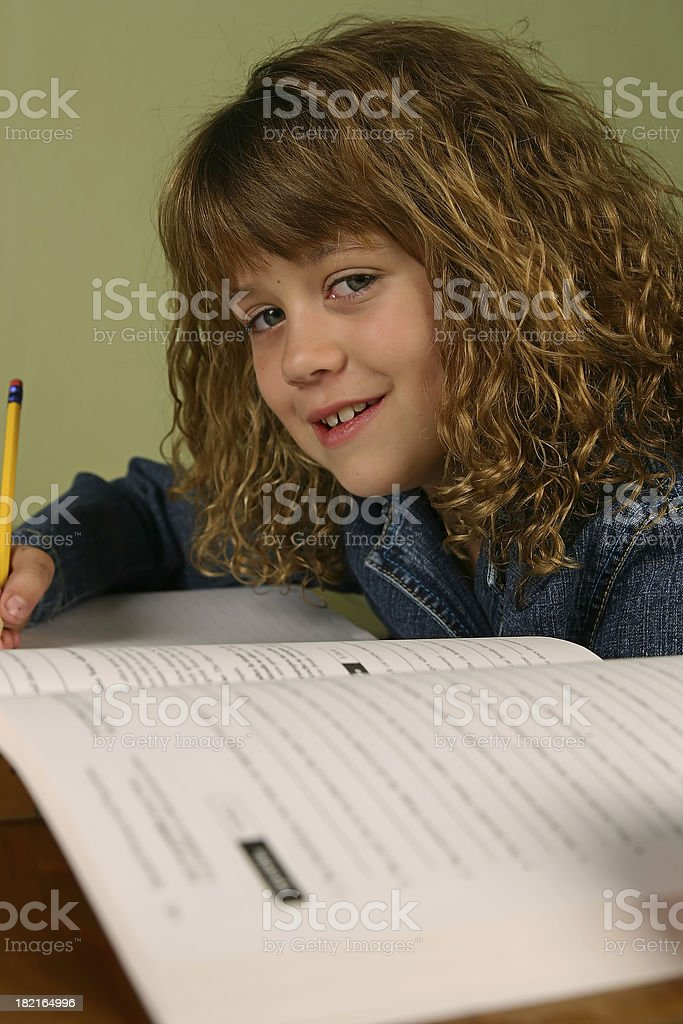 Young Girl Studying royalty-free stock photo