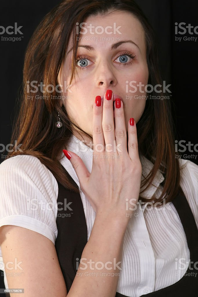 Young girl surprised stock photo
