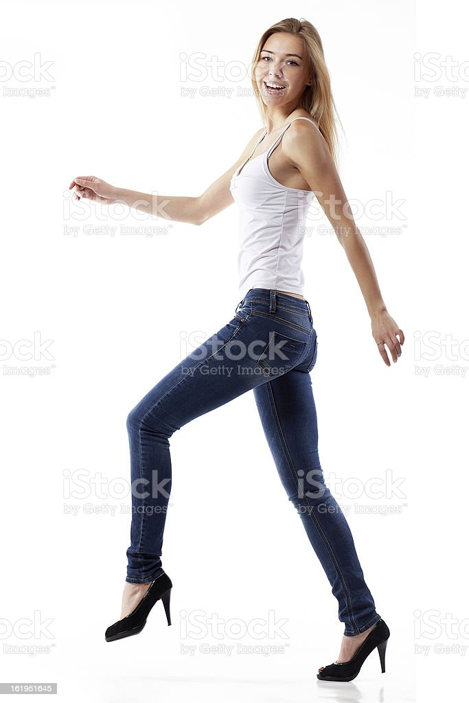 young girl takes a step. royalty-free stock photo