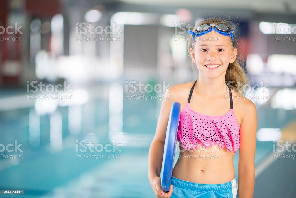 Young Girl Taking a Swim Class stock photo