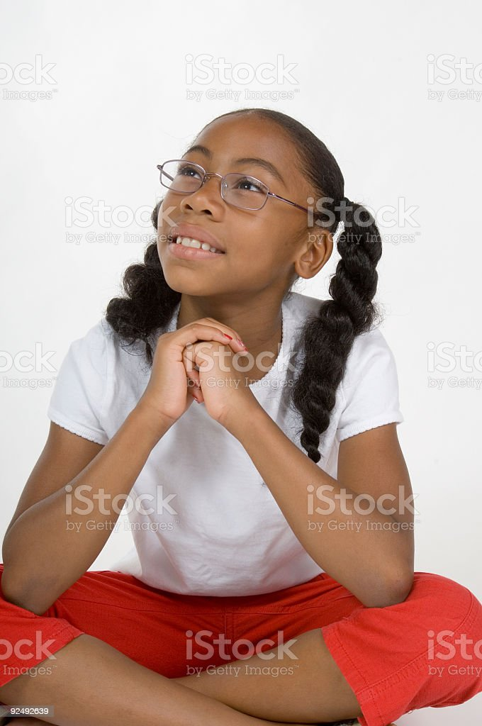 young girl thinking royalty-free stock photo