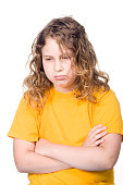 Young girl upset on white background