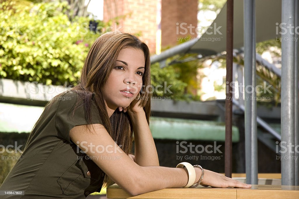 young girl waiting royalty-free stock photo