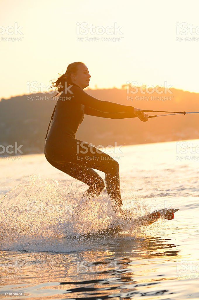 Young Girl Wakeboarding at the Cote D'Azur stock photo