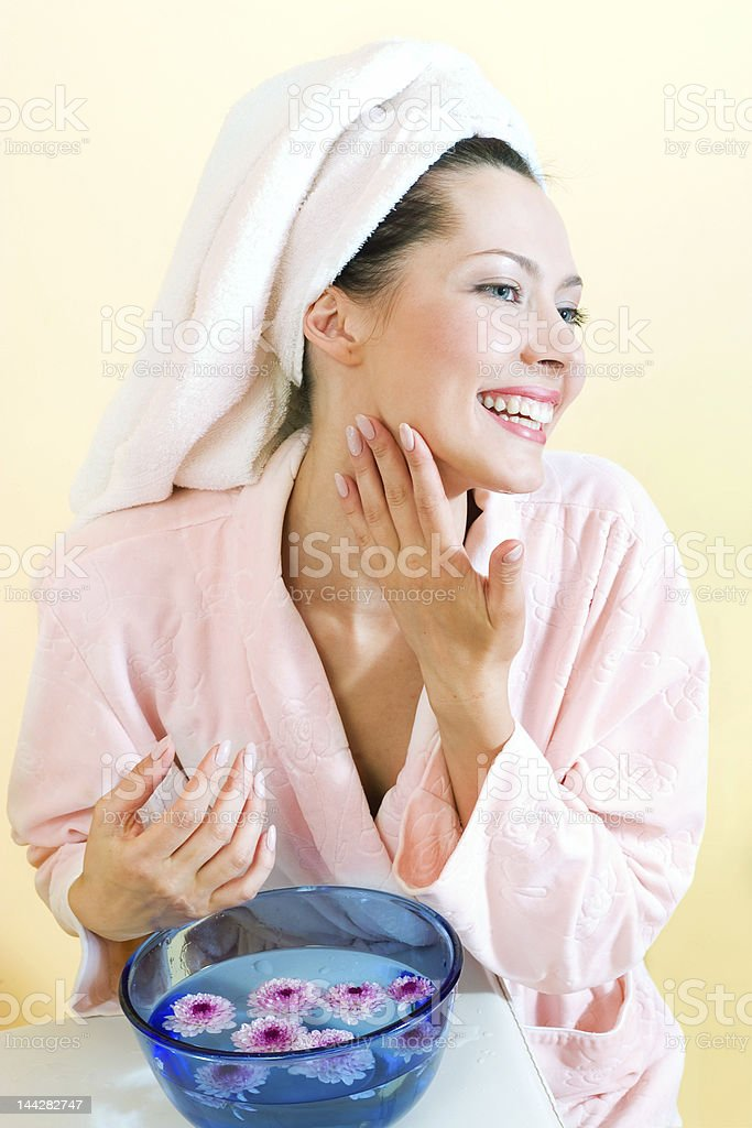 Young girl washing royalty-free stock photo