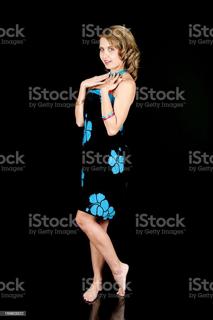 Young Girl Wearing A Bikini Cover-Up stock photo