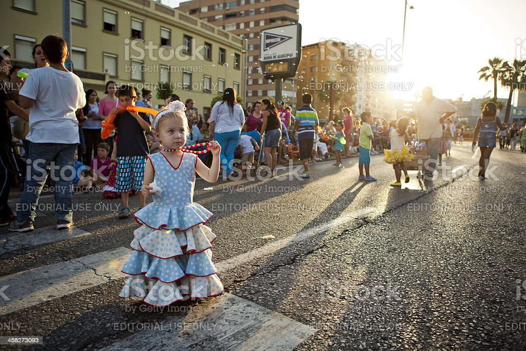Young Girl Wearing Andalusian Dress royalty-free stock photo