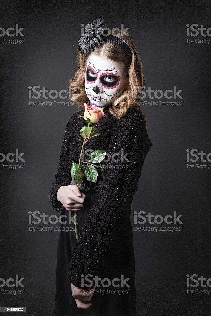 Young Girl Wearking Sugar Skull Make Up royalty-free stock photo