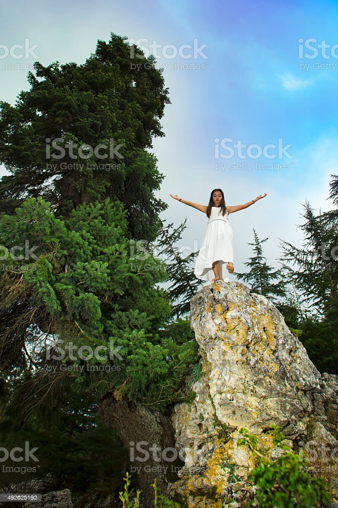 Young girl who want to commit suicide stock photo