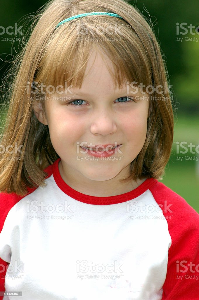 Young Girl with a blank T-shirt royalty-free stock photo