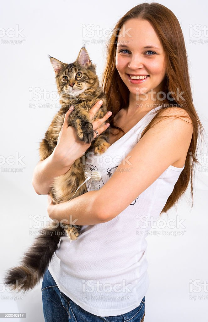 Young girl with a cat on hands stock photo