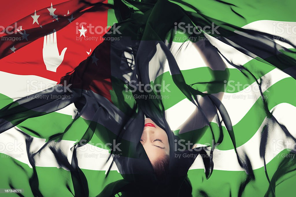 Young girl with Abkhazian Flag stock photo