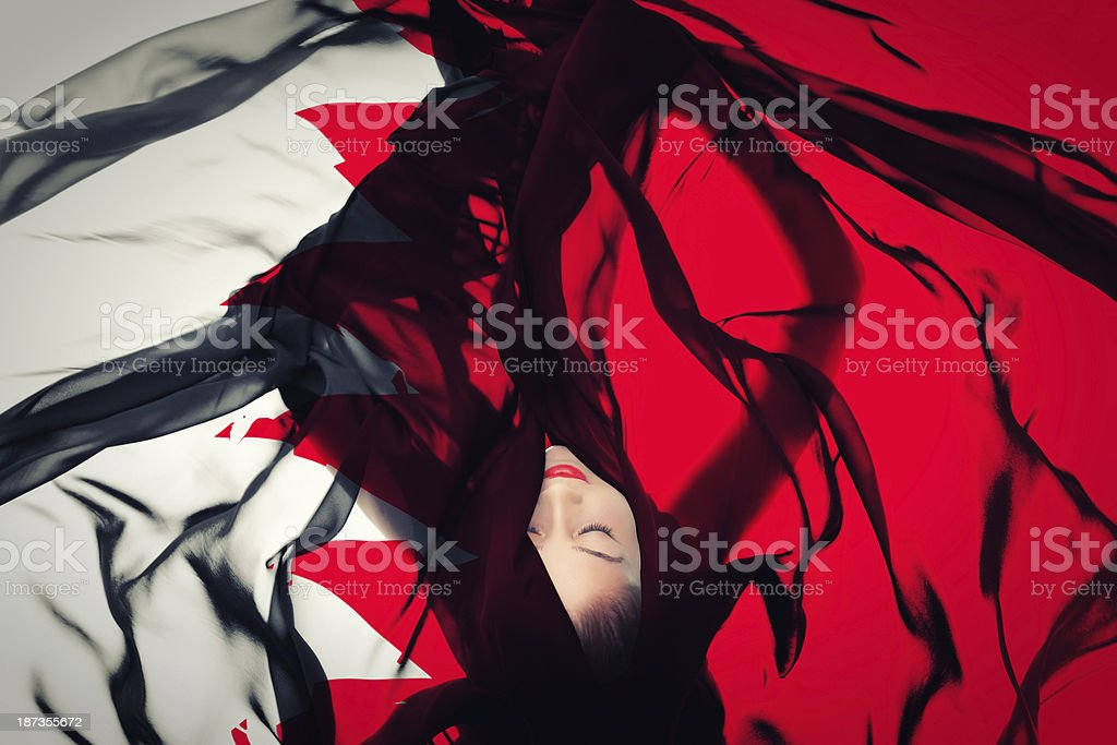 Young girl with Bahraini Flag stock photo