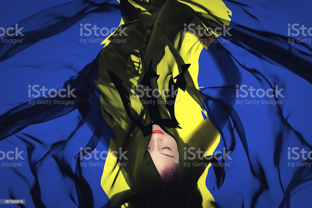 Young girl with Barbadian Flag stock photo