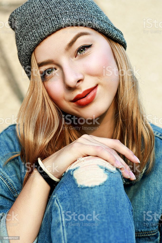 young girl with beautiful eyes stock photo