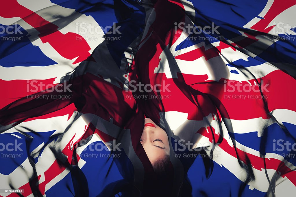 Young girl with British Flag royalty-free stock photo