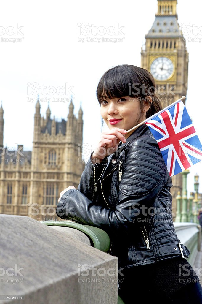 Young girl with British flag stock photo
