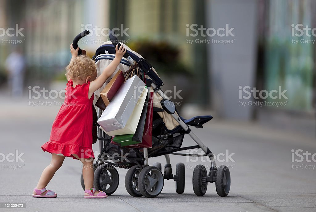 Young girl with carriage royalty-free stock photo