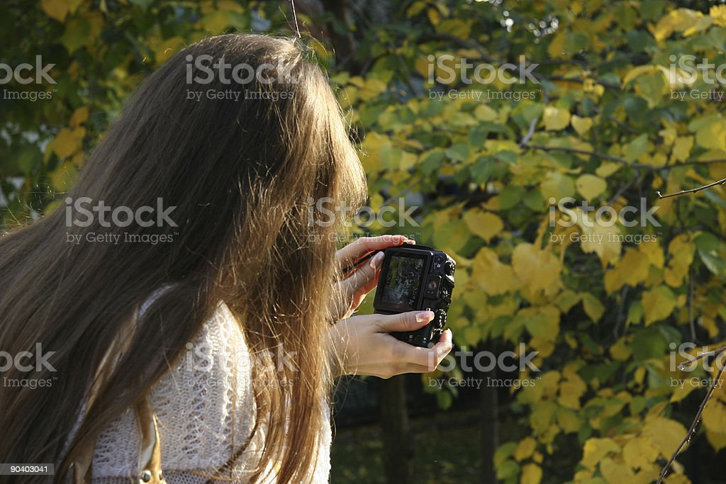 Young Girl With Compact Camera royalty-free stock photo