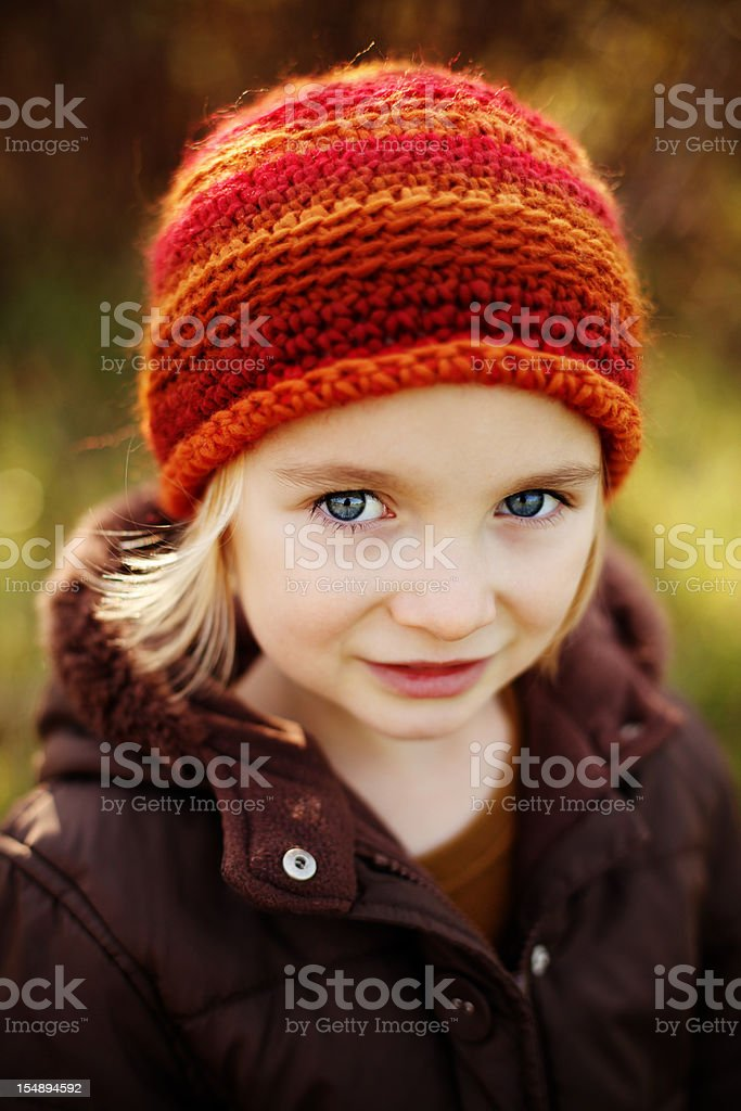 Young Girl with Crocheted Hat royalty-free stock photo