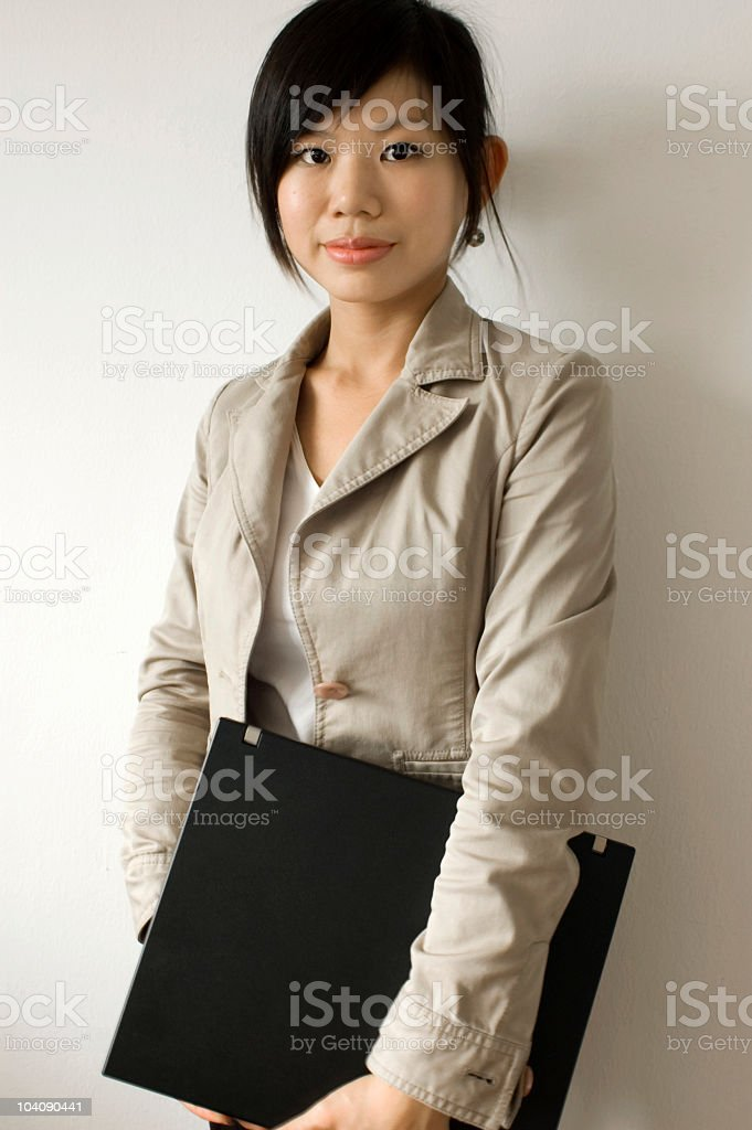 Young girl with documents royalty-free stock photo