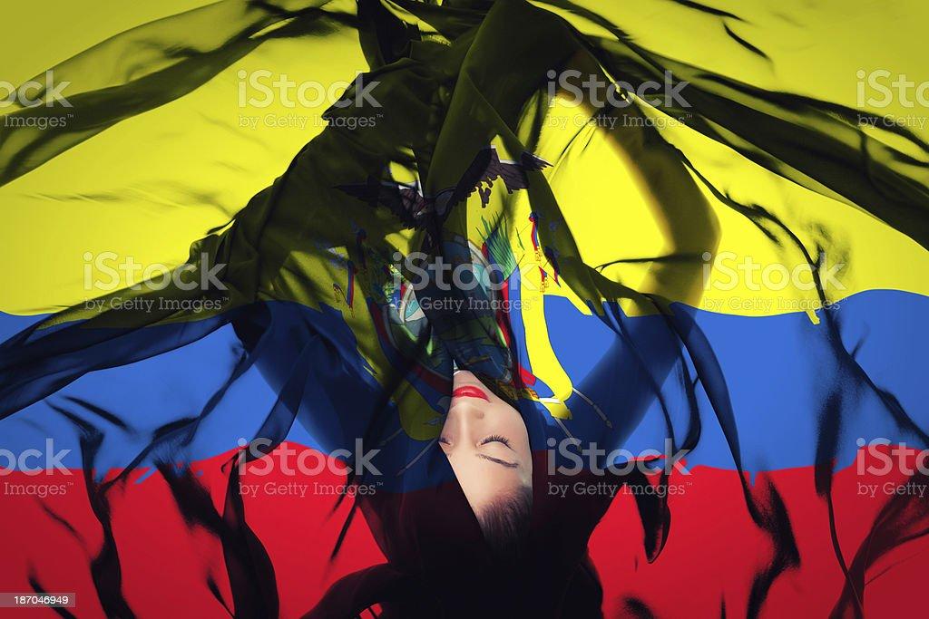 Young girl with Ecuadorian Flag stock photo